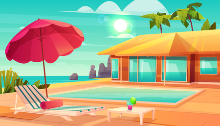 Luxury tropical resort hotel cartoon vector with cocktail on table, lounge chair under umbrella and swimming pool near comfortable beach house or bungalow illustration. Summer vacation background