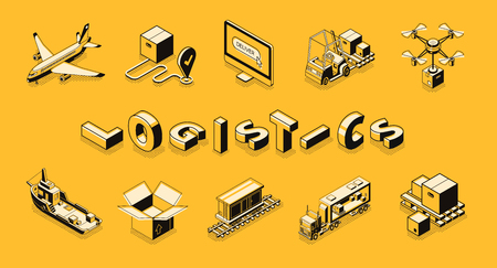 Business logistics line art, isometric vector banner. Retail company distribution, delivery or postal service technologies, commercial freights transportation concept. Cargo shipping icons collection Illustration