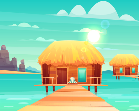 Comfortable wooden bungalows with thatched roof on pier at sunny tropical seacoast cartoon vector illustration. Luxury resort beach houses, exotic hotel rooms illustration. Summer vacation background