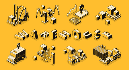 Commercial warehouse line art, isometric vector banner. Goods shipping service, cargo and freights transportation, business logistics technologies concept. Delivery company machines illustrations set