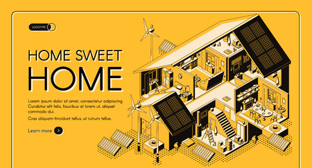 Energy self-sufficient house isometric vector web banner, landing page. Cottage rooms cross section interiors or plan, electricity alternative technologies, renewable energy solutions illustration Standard-Bild - 124860584