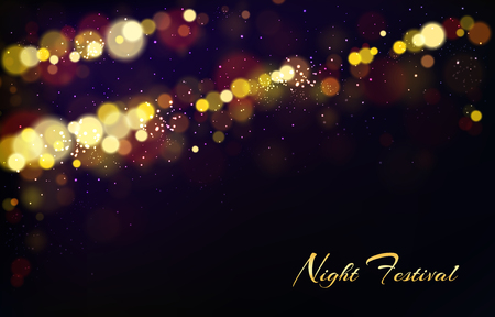 Vector abstract background with shining elements, bright lights for night festival, bokeh effect. Golden stars on dark backdrop, glowing or explosion. Realistic sparkles, glitter or illuminated dust.