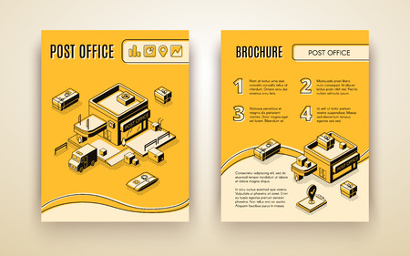 Post or delivery service, business logistics company isometric vector advertising brochure, promotion booklet pages template. Mail truck neal postal office, tracking parcel boxes online illustration