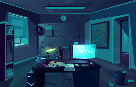 Vector cartoon background of overtime in police department or private detective. Night, dark room with desk, computer and chair for client. Interior of cabinet for investigation. Moonlight from window Standard-Bild - 117915050