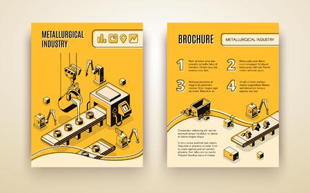 Entreprise de l'industrie métallurgique, production d'acier et d'alliages, rapport annuel vectoriel isométrique de l'usine de traitement du minerai de fer, modèle de brochure promotionnelle. Verser du métal fondu dans des moules sur l'illustration du convoyeur