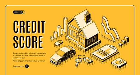 Bank consumer credit isometric vector promo web banner with cottage house, car, approved loan application document line art illustration. Personal credit rating score service landing page template