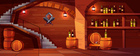 Vector wine cellar background, cozy space with wooden barrels, glass bottles. Alcohol, winemaking room with lanterns, stairs. Castle basement with shield, swords and shelves with beverage Illustration