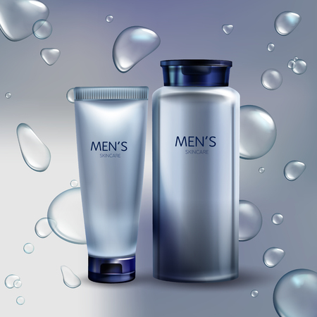 Vector 3d realistic cosmetics for men in transparent water drops. Ad poster, promo banner with silver gray jar with lotion, tube with cream. Moisturizer, skincare. Bottle with shaving liquid.