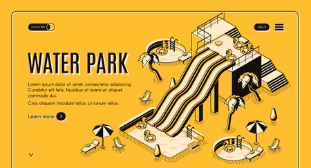 Water park isometric vector web banner or landing page template. Water slides, inflatable rings in swimming pool, beach lounge and deckchairs under umbrellas illustration. Tropical resort attractions