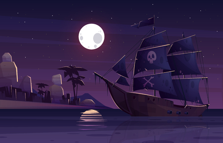 Pirate ship or galleon with human skull and crossed bones on black sails, sailing near tropical seacoast at night cartoon vector illustration. Treasures hiding and hunting, copyright law break concept