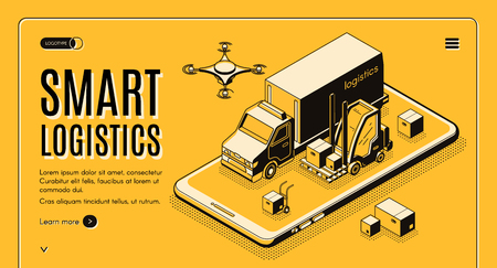 Commercial delivery service, business logistics company smart technologies isometric vector web banner, landing page. Cargo truck, forklift and flying postal drone on cellphone screen illustration Illustration
