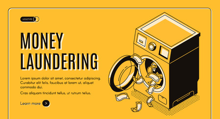 Money laundering isometric vector web banner, landing page. Dirty cash received by illegal way or criminal activity cleaning in washing machine illustration. Financial machination, tax evasion concept