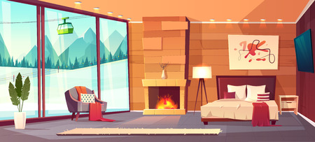 Vector cartoon interior of luxury hotel bedroom with furniture - double bed, carpet and fireplace. Living apartment of winter resort with window - snowy mountains outside. Colorful background. Illusztráció