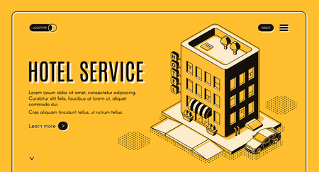 Hotel service isometric projection web banner with clients car on parking near city motel building entrance line art illustration. Booking and reserving apartment, room service landing page template