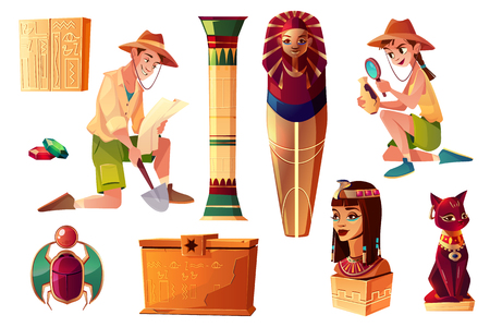 Vector Egyptian cartoon set - paleontologist and archeologist characters, pharaoh sarcophagus and symbols of culture. Collection of tomb, objects on background.Bastet sculpture, hieroglyphs and scarab Ilustração