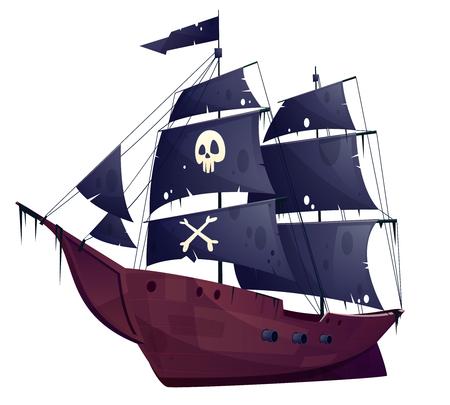 Bateau pirate de dessin animé de vecteur isolé sur fond blanc. Bateau en bois avec voiles noires, canons et chantiers navals. Corvette ou frégate avec drapeau de boucanier - crâne et os. Vieux cuirassé, péniche. Vecteurs