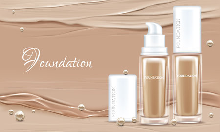 Vector 3d realistic poster with concealer, beige cosmetics product in glass package. Premium foundation with pearls for woman. Mock up, template of cosmetic isolated on background with liquid splashes