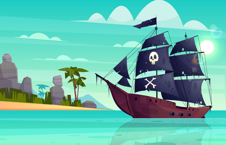 Vector cartoon pirate ship on water, sand beach of the bay. Wooden boat with black sails, cannons goes to the island. Corvette or frigate with skull and bones flag at sea, ocean. Old battleship, barge Illustration
