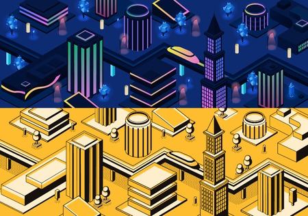 Vector 3d isometric modern city - metropolis in blue and yellow colors or town in line art style. High-speed monorail train, subway in futuristic buildings. Skyscrapers architecture, urban concept Çizim
