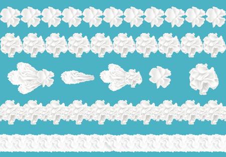 Vektor realistische 3D-Sammlung von nahtlosen Sahnegrenzen für Kuchen, Torte. Süßwarenelement in weißer Farbe, auf blauem Hintergrund isoliert. Aufgeschlagenes Milchprodukt, Joghurtwirbel. Dekoration zum Nachtisch.