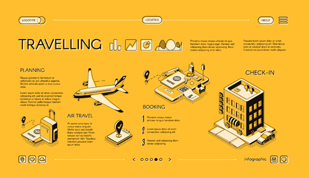 Traveling company isometric vector web banner, horizontal, slide website template with journey planning, tickets and hotel room booking online services. Mobile app for comfortable tourism landing page Illustration