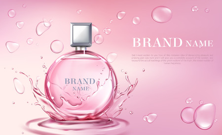 Vector 3d realistic poster, banner with perfume bottle, oil splashing or water drops. Shiny glass container with pink liquid. Cosmetic background for ad poster, promo banner. Floral essence, mock up. Banque d'images - 117915073