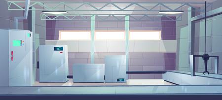 Industriële fabriek of fabriek productiehal leeg interieur cartoon vector. Productiefaciliteit, verwarmingsketels, koelkasten met temperatuurindicatoren, transportband en kraanhaakillustratie Vector Illustratie