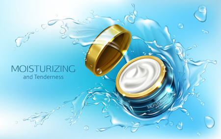 Vector 3d realistic advertising mock up - moisturizing cream in jar with water splashes, cosmetics. Essence in branded blue glass container, golden cap.Skincare, hygiene product isolated on background Illustration