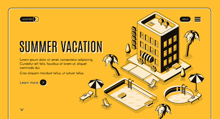 Travel agency, online booking service isometric vector web banner with beach lounge chairs under umbrella, swimming pool near hotel building illustration. Luxury tropical resort landing page template