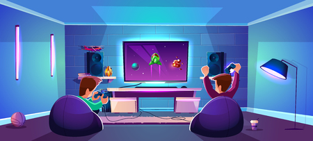 Vector game room with people playing digital entertainment, modern esports concept. Night stream with friends in neon light in club, lounge. Joysticks, gamepads and players in cozy armchairs.