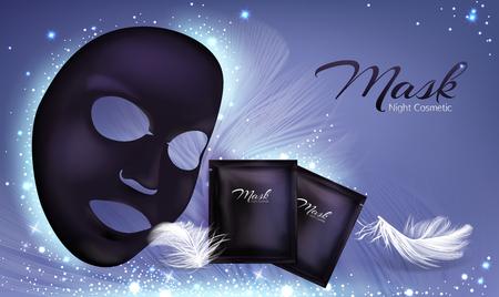 Bannière réaliste 3d de vecteur avec masque cosmétique facial en feuille noire et sachet. Affiche de soins de la peau, maquette avec crème hydratante ou anti-âge, cosmétiques naturels pour le traitement du visage. Nettoyage au charbon. Vecteurs