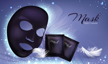 Vector 3d realistic banner with black sheet facial cosmetic mask and sachet. Skincare poster, mock up with moisturizing or anti-aging cream, natural cosmetics for face treatment. Charcoal cleansing.