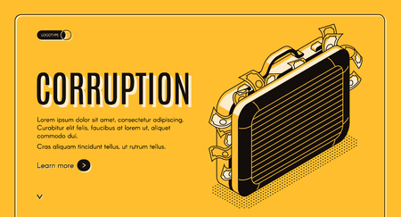 Corruption isometric web banner with suitcase full of criminal money line art illustration. State officials bride concept. Economic crimes investigation bureau, law enforcement agency landing page