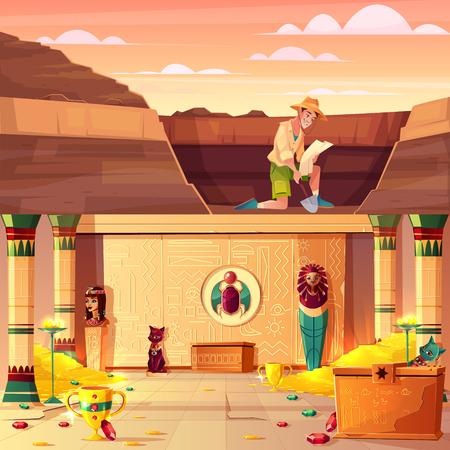 Fouilles archéologiques, concept de vecteur de dessin animé de chasse au trésor avec archéologue ou cavalier de tombe regardant sur la carte, creusant le sol dans le désert avec une pelle, illustration souterraine du trésor du pharaon égyptien