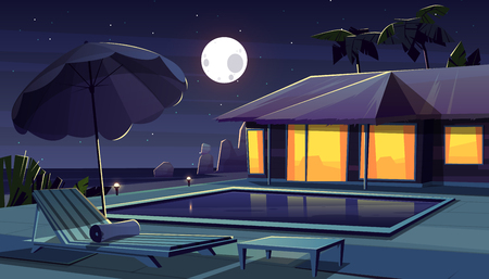 Vector cartoon background with hotel at night. Living apartment of tropical resort water pool, full moon backdrop. Hostel outside, chaise lounge, deck chair with pond. Summer rest.