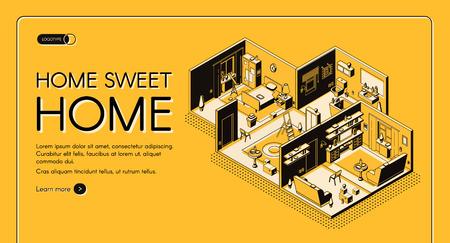 Hausbauunternehmen Wohnungsbau-Konfigurationsdienst isometrische Vektor-Web-Banner. Residenz, Wohnung Zimmer Querschnitt Plandarstellung. Vorlage für die Zielseite des Innenarchitektur-Ateliers Vektorgrafik
