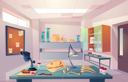 Paleontología, laboratorio de genética de la universidad, examinando huesos fosilizados, estudiando la ilustración de vector de dibujos animados de anatomía esqueleto de dinosaurios