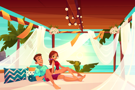 Honeymoon in luxury hotel on tropical resort cartoon vector. Happy couple in love relaxing, resting on comfortable terrace on seashore or beach illustration. Summer vacation in exotic country concept Vetores