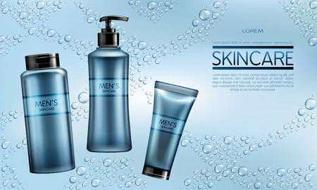 Mens cosmetics, skincare hydration products line 3d realistic vector advertising banner, promo poster with shampoo, shower gel or soap, shaving lotion or moisturizing cream bottles, tubes illustration