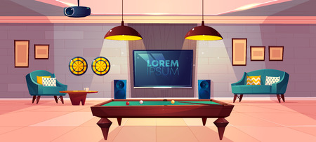 Comfortable recreation room for family leisure in house basement cartoon vector with soft armchair and sofa, darts on wall, projector on ceiling and billiards or pool table illustration
