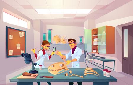 Equipo de científicos que trabajan en paleontología, laboratorio de genética, jóvenes paleontólogos que examinan huesos fosilizados, estudiantes universitarios que estudian dinosaurios esqueleto anatomía ilustración vectorial de dibujos animados Logos
