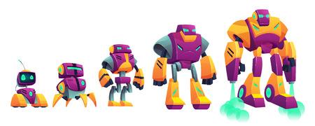Ilustración aislada del vector de la historieta de la evolución de los robots en el fondo blanco. Las tecnologías robóticas progresan desde un pequeño droide hasta un cyborg volador. Personaje del juego, diseño de la unidad, mejora de nivel