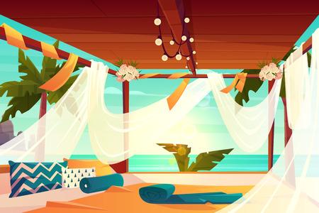 Chill out area sul vettore di lusso, resort tropicale del fumetto. Confortevole terrazza, fiori decorati, ricoperta di baldacchino in tulle con protezione solare bianca e morbidi cuscini sull'illustrazione del pavimento. Rilassarsi in riva al mare