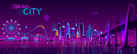 Vector big bridge to amusement park. Modern megapolis on river and Ferris wheel. Night architecture background with glowing buildings in cartoon style. Urban skyscrapers in neon colors. Illustration