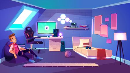 Adolescent assis dans un fauteuil de sac confortable dans sa chambre confortable sur le vecteur de dessin animé de grenier de la maison. Fan de jeux informatiques, passionné d'esports ou streamer, joueur professionnel ou blogueur se reposant à la maison illustration