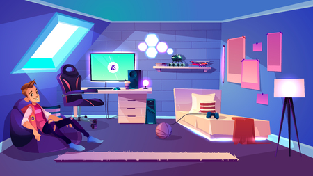 Teenage boy sitting in comfortable bag armchair in his cozy room on house attic cartoon vector. Computer games fan, esports enthusiast or streamer, pro gamer or blogger resting at home illustration Illusztráció