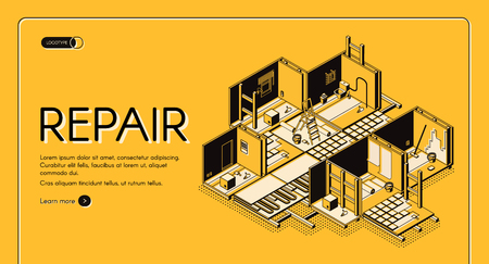 House repair service isometric vector web banner. Home building, apartment rooms cross section interior with walls and floor reconstruction illustration. Construction company landing page template Vector Illustratie