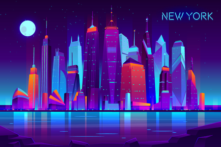 Modern new york city cartoon vector night landscape. Urban cityscape background with skyscrapers buildings on sea shore illuminated with neon light illustration. Metropolis central business district