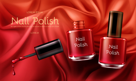 Red nail polish 3d realistic vector cosmetic ads banner with glass bottle on red or scarlet satin soft silk fabric with folds illustration Womens cosmetics and make up product promotional mockup.