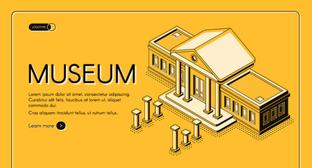 Historical, art or science museum isometric vector web banner. Ancient classic architecture building with columns on facade yellow, black line art illustration. Public exhibition landing page template